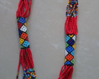 Red Zulu beaded strand necklace,African beaded necklace,patterned necklace,gift for her
