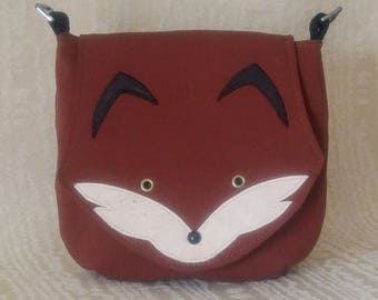 Foxy Saddlebag Crossbody Purse, Natural Fabric Purse, Fox Purse, Handbag, Cotton Crossbody