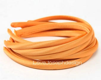 10pieces orange satin plastic hair headband covered 10mm wide