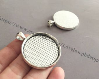 wholesale 20 Pieces /Lot Antique Silver & bronze Plated 30mm cabochon bezel trays charms(#0534)