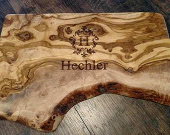 """Engraved Olive Wood Serving Board, Cutting Board 15"""""""