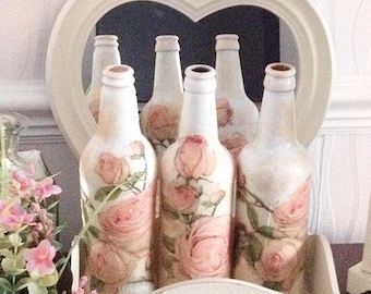 Shabby chic style vintage rose bottle, lamps, vintage style, roses, pink, bedroom, dressingtable, mothersday, birthday, home decor