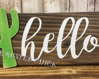 CACTUS Hello sign, Cactus Sign, Cactus Decor, Succulant sign, Everyday sign, Rustic Sign, Door Sign, Wreath Sign, Wreath attachment