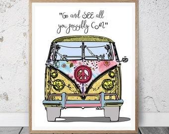 VW Bus Print, VW Bus Decor, Volkswagen Bus Art, Vintage Volkswagen Bus Print, Hippie Art, Hippie Decor, Boho Art, Hipster Art, VW Bus Art,