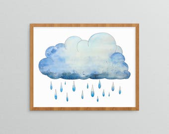 Rain Cloud Print - Watercolor Painting - Stormy Skies - Watercolor Print - Nature Watercolor - Cloud Painting - Weather Art - Storm Artwork