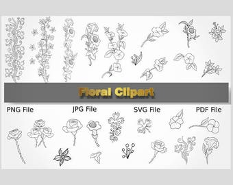 Doodle Flowers, Flower Clipart, Silhouette Flowers, Hand Drawn Flower, Flower Silhouette, Floral Clip Art, Flower Drawing, Flower Doodles