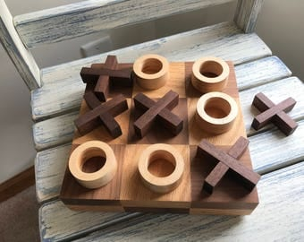 Hardwood Tic-Tac-Toe Board Game