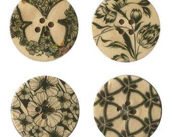 4 round wooden buttons sewing, children, 3 cm black decorative scrapbooking