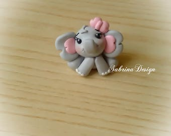 Elephant favor baptism favors baby shower favors birthday topper communion favors animals favors polymer clay girl favors