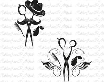 Hairstylist logo Hairdresser Svg barber shop Dxf Png Eps Files Vector beauty salon svg clipart Hair Scissors print cutting file