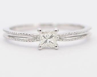 Princess Cut Diamond 0.22ct Center Solitaire 14K White Gold Wedding Engagement Ring Milgrain Edge Vintage AD1285