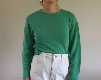 Vintage 80s Grass Green Cotton Crewneck Pierre Cardin Sweater | S/M