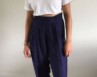 Vintage 90s Navy Crinkly High Waisted Baggy Trousers | M/L