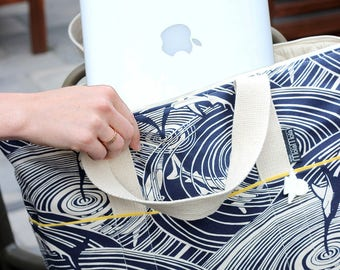shark print laptop bag, with padded lining, zipper closing and pocket in lining.