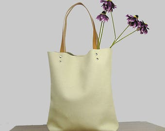 Leather Tote bag, Cream leather tote bag, Soft leather bag, Women bag,Women  handbag,  Tote bag leather, Tote woman,
