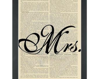 Wedding Mrs Dictionary Art Print