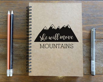 She Wiil Move Mountains - Feminism - A5 Spiral Notebook/Sketchbook/Kraft Journal/Personalized Journal - Blank paper - 012