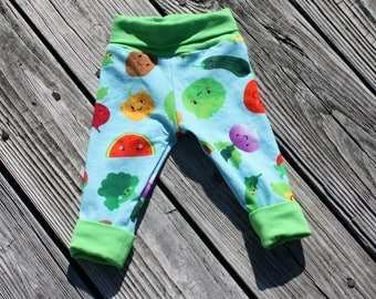 Veggie Garden Grown with me style leggings - size NB to 6 years old - handmade girls boys kids