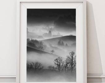 Foggy Mountain Terrain, Nature Mountain Photography, Foggy Images, Mountain Picture Large Printable Modern Minimalist Art Wall, Art Decor