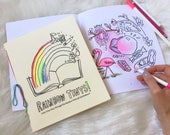Rainbow coloring book for adults or kids coloring pages, coloring therapy rainbow art therapy, Rainbow order coloring zine