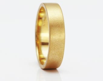 6mm 18ct Yellow Gold Flat Frosted Wedding Ring