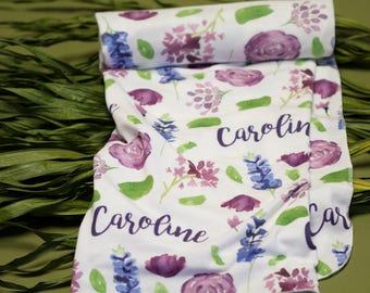 Personalized Swaddle Blanket - Modena Wildflower – Personalized Swaddle Blanket / Baby Name Blanket - Watercolor Floral