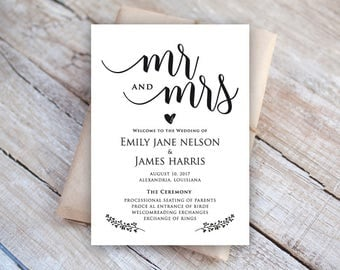 Mr and Mrs, Rehearsal Dinner Card Template, Microsoft Word Format (docx), Instant Download, Editable,