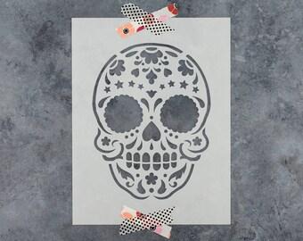 Sugar Skull Starry Stencil - Reusable DIY Craft Stencils of a Sugar Skull Starry