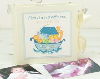 Personalised Noah's Arc Baby Photo Album - Pink or Blue