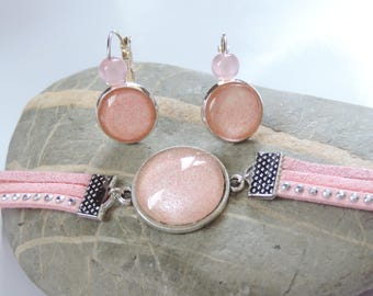 cabochon ღ ღ bracelet suede dress set and earrings set Amarilys ღ