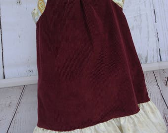 Toddler Corduroy dress with flounce.