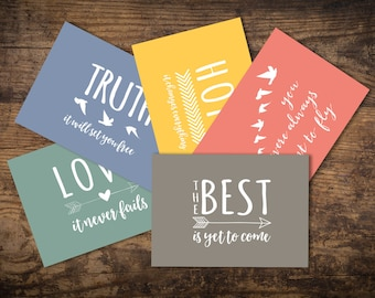 Set of 5 inspirational A6 Postcards, pastel colours, love, truth, hope, the best is yet to come, birds, hearts, arrows, monochrome, A6