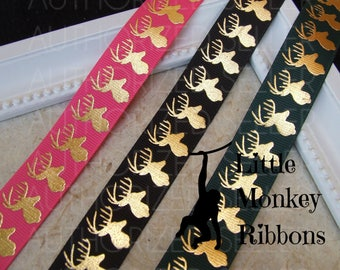 Deer ribbon, Gold  deer, Hunting ribbon, 7/8 Grosgrain Ribbon,
