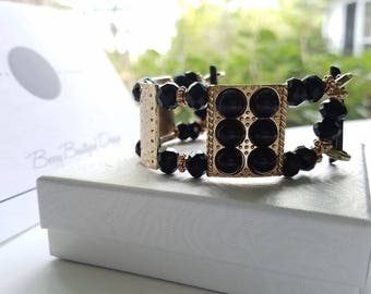 "Apple Watch Band, Apple Watch Band 38mm, Apple Watch Band 42mm, Gold and Black women's Apple Watch Band, Style ""Golden Lady"""