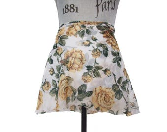 Yellow on White Floral Ballet Wrap Skirt - Short