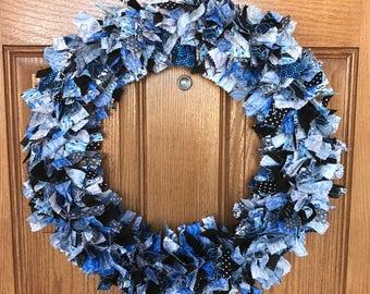 Blue Rag Wreath / Black Rag Wreath / Rag Wreath / Blue Fabric Wreath / Blue Door Wreath / Blue Summer Wreath / Rag Door Wreath / Blue Wreath