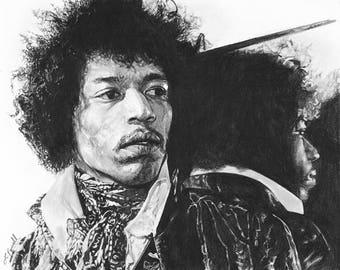 "Jimi Hendrix Charcoal Drawing Print 8""x10"" (Limited Edition)"
