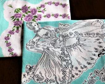 Pair of Teal Handkerchiefs, Vintage Hankies, Lady in Fancy Dress, Purple flowers, Aqua Border, Hanky, Fashion scarf, Pocket square,