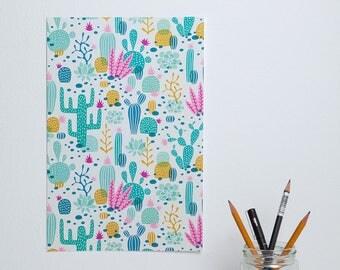 Cactus desert pattern illustrated poster - 20x30 cm / 8x12 inch - design by Heleen van den Thillart