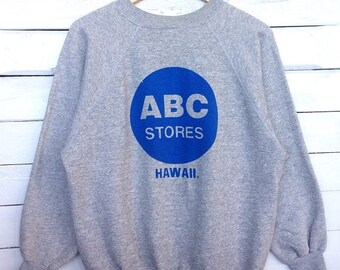 Sale 15% Rare !! Vintage 90s Hawaii ABC Stores Sweatshirt Big Logo Print Crewneck Hip Hop Swag Size Large Made in USA #D2