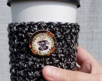 Black Tweed Cup Sleeve with Button - Crochet Everyday Cup Sleeve