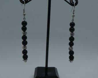 Pendant earrings Black-Silver beads