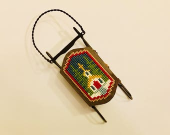Christmas mini sled, Christmas tree decoration, Christmas ornament, cross stitch ornament, completed finished cross stitch, little church
