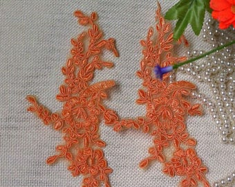 1 Pair Embroidery Lace Applique DIY Trim Appliques in Orange for   Sashes, Veils, Headpieces, WL1765