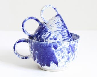 ristretto, espresso, coffee cup, blue dripping and white, handmade, ceramic, stoneware, wheel thrown, glazed