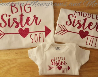 Sister Arrow Heart Name Shirts, Family Matching Shirts, Big Sister, Middle Sister, Little Sister, Arrow Heart TShirt