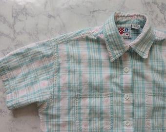 SALE // Vintage 80s 90s Plaid Pastel Button Up