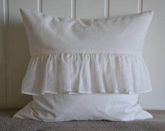 White cotton flounce pillow.cover, 50x50 cm/ 19,7x19,7 inch, for decorative pillow