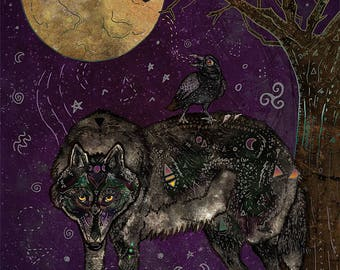 I DON'T SPEAK HUMAN 5x7 Fine Art Print // Wolf Art, Wolf Print, Wolf Wall Art, Wolf Illustration, Wolf Decor, 5 x 7 Wolf Print, Raven, Crow