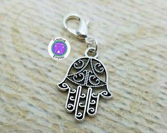 Silver hand charm, hamsa hand charm, hand of Fatima zipper pull, hamsa clip on charm, hand charm with clasp, Fast Shipping from USA